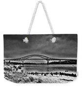 Tacony Palmyra Bridge In B And W Weekender Tote Bag