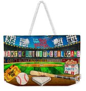 Take Me Out To The Ballgame Recycled Vintage License Plate Art Collage Weekender Tote Bag