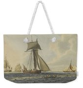 Taking Crew To An English Frigate Near The Needles Isle Of Wight By Robert Cleveley Weekender Tote Bag