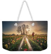 Taking Sunset Pictures Using A Mobile Phone Weekender Tote Bag