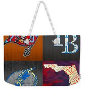 Tampa Bay Sports Fan Recycled Vintage Florida License Plate Art Bucs Rays Lightning Plus State Map Weekender Tote Bag