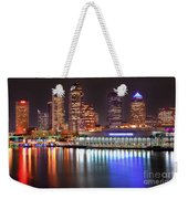 Tampa Skyline At Night Early Evening Weekender Tote Bag