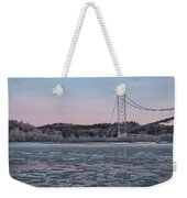 Tanana River With Pipeline - Early Morning Weekender Tote Bag