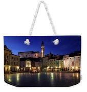 Tartini Square Plaza In Piran Slovenia With City Hall, Tartini S Weekender Tote Bag