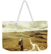 Tasmanian Man On Road In Nature Reserve Weekender Tote Bag