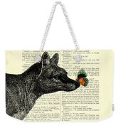 Tasmanian Tiger And Orange Butterfly Antique Illustration On Dictionary Page Weekender Tote Bag