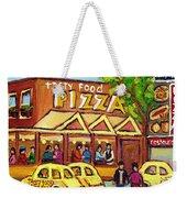 Tasty Food Pizza On Decarie Blvd Weekender Tote Bag