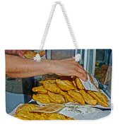 Tasty Hot Empanadas For Lunch In Angelmo Fish Market In Puerto Montt-chile Weekender Tote Bag