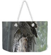 Tawny Frogmouth With It's Eyes Closed And Wing Extended Weekender Tote Bag