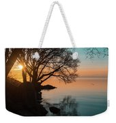 Teal And Orange Morning Tranquility With Rocks And Willows Weekender Tote Bag