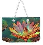 Teal And Peach Waterlilies Weekender Tote Bag