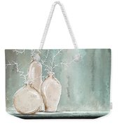 Teal And White Art Weekender Tote Bag