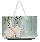Teal Elegance - Teal And Gray Art Weekender Tote Bag