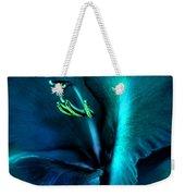 Teal Gladiola Flower Weekender Tote Bag