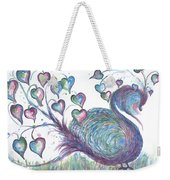 Teal Hearted Peacock Watercolor Weekender Tote Bag