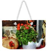 Teapot Filled With Geraniums Weekender Tote Bag