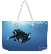 Technical Diver With Equipment Swimming Weekender Tote Bag