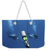 Technical Divers Ascend Near A Nitrox Weekender Tote Bag by Karen Doody