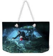 Technical Divers Enter The Cavern Weekender Tote Bag by Karen Doody