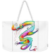 Technicolor Dragon -- Rainbow-colored Whimsical Dragon  Weekender Tote Bag