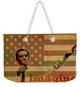 Ted Cruz For President Imagine Speech 2016 Usa Watercolor Portrait On Distressed American Flag Weekender Tote Bag