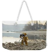 Teddy Bear Taking Pictures With An Old Camera By The Riverside Weekender Tote Bag