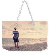 Teen Boy On Beach Weekender Tote Bag