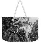 Teeng Girl Riding Bike On Sidewalk Weekender Tote Bag