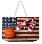 Tennis Shoes And Basketball On Flag Weekender Tote Bag