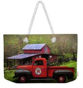 Texaco Truck On A Smoky Mountain Farm In Colorful Textures  Weekender Tote Bag