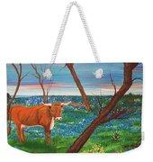 Texas Cow's Blulebonnet Field Weekender Tote Bag