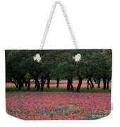 Texas Live Oaks Surrounded By A Field Of Indian Paintbrush And Bluebonnets Weekender Tote Bag
