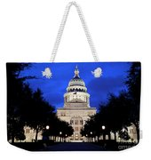 Texas State Capitol Floodlit At Night, Austin, Texas - Stock Image Weekender Tote Bag