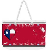 Texas State License Plate With Damage Weekender Tote Bag