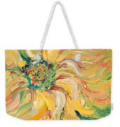 Textured Green Sunflower Weekender Tote Bag