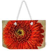 Textured Red Daisy Weekender Tote Bag