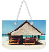 Thatched Roof Cottage/shack On A Perfect White Sand Tropical Beach Bali, Indonesia Weekender Tote Bag