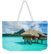 Thatched Roof Honeymoon Bungalow On Bora Bora Weekender Tote Bag