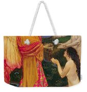 The Angel Offering The Fruits Of The Garden Of Eden To Adam And Eve Weekender Tote Bag