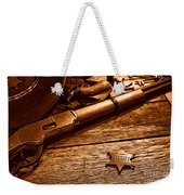 The Badge - Sepia Weekender Tote Bag