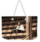 The Baseball Fan Sepia Weekender Tote Bag