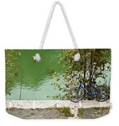The Bicycle Is A Ubiquitous Form Of Transport In Europe And This Owner Has Literally Gone Fishing. Weekender Tote Bag