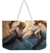 The Blue Ballerinas - A Edgar Degas Artwork Adaptation Weekender Tote Bag by Rosario Piazza