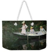 The Boat At Giverny Weekender Tote Bag by Claude Monet
