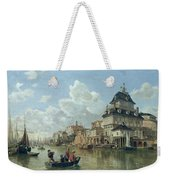 The Boat House At Hamburg Harbour Weekender Tote Bag by Valentin Ruths