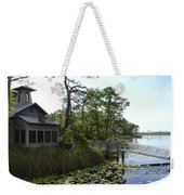 The Boathouse At Watercolor Weekender Tote Bag by Megan Cohen
