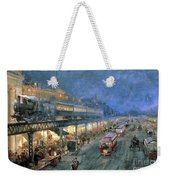 The Bowery At Night Weekender Tote Bag by William Sonntag