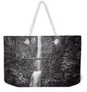 The Bridge At Multnomah Falls In Black And White Weekender Tote Bag