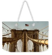 The Brooklyn Bridge Flag Weekender Tote Bag