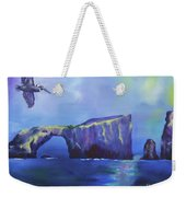 The California Brown Pelican And Acacapa Island Arch Rock Weekender Tote Bag